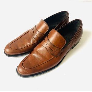 Bally Mens Brown Leather Penny Loafer Dress Shoes